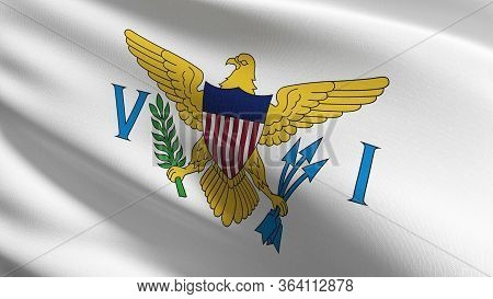 Us Virgin Islands Flag In The United States Of America, Usa, Blowing In The Wind Isolated. Official