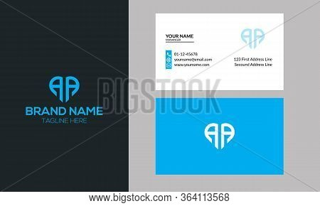 Simple Business Card Is Red Black With Aa Logo Letter Modern Clean Vector Design. Aa Logo Can Be Use