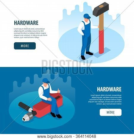 Hardware Horizontal Banners With Handy Tools For Carpentry Metalwork Repair And Renovation Isometric