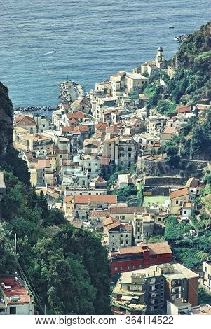 high view Amalfi village and sea from Pontone hill village on Amalfi Coast in Campania