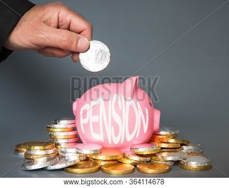 A Pension Or Retirement Concept Of An Employee, Employer Or Person Adding And Contributing Money To