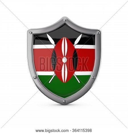 Kenya Security Concept. Metal Shield Shape With National Flag