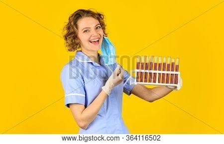 Creating Vaccine. Blood Samples. Medical Professional Developing Vaccine. Coronavirus Treatment. Doc