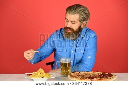 Good Appetite. Consume Alcohol. Enjoy Your Meal. Beer And Food. Dinner At Pub. Hungry Man Drink Beer