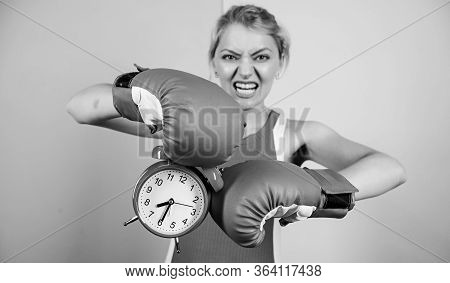 Sportswoman. Win The Day. Angry Woman Boxing Gloves. Girl Boxer Hold Alarm Clock. Morning Energy. Fu