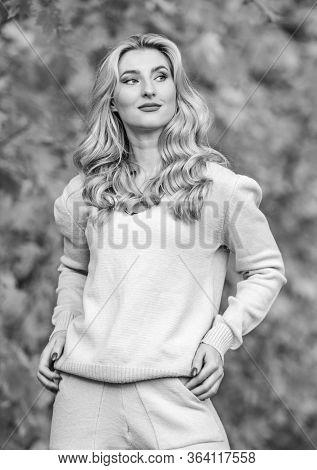 Sporty Girl. Woman Enjoy Autumn Season In Park. Warm Knitwear. Girl Relaxing In Nature Wearing Knitw