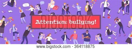 Bullying Banner Site Flat Composition Of Text And Isolated Icons Human Characters Of Children Being
