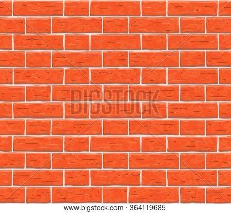 Brick Wall Seamless Pattern Background. Texture Of Red, Orange Cartoon Brick Wall Vector Pattern Ill