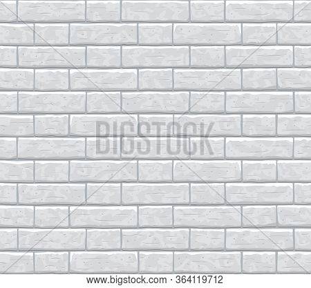 Brick Wall Seamless Pattern Background. Gray, Light Cartoon Brick Wall Vector Texture Pattern Illust