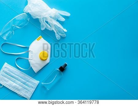 Medical Protective Mask, Respirator Ffp, Soap, Rubber Gloves, Antiseptic And Protective Glasses Lie