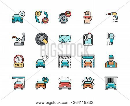 Set Of Car Wash Flat Color Icons. Auto Washing, Wheel Lock, Windshield And More.