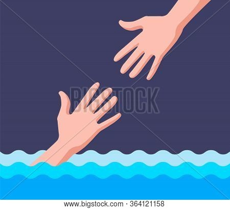 Lifeguard Helps A Drowning Man In Water. Flat Vector Illustration.
