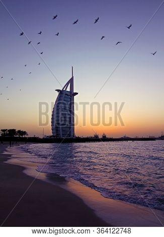 Dubai, United Arab Emirates - January 24, 2018 - Burj Al Arab Hotel On Jumeirah Beach In Dubai, Luxu