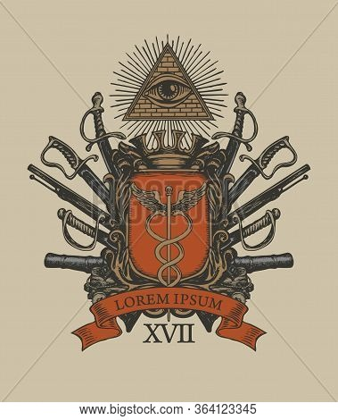 Vector Coat Of Arms In Vintage Style With A Caduceus On A Knightly Shield, All-seeing Eye, Crown, Sa