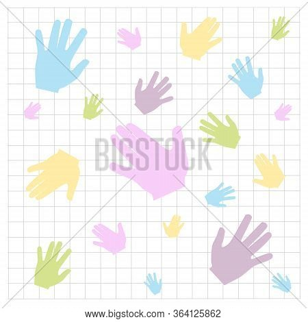 Seamless Pattern Of Colored Handprints On A White Background. Multicolor Pattern For Your Design Car