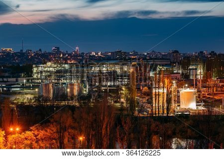 Chemical Factory At Night. Production Of Thermoplastic In Voronezh Synthetic Rubber Plant