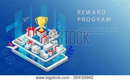 Isometric Reward Program And Cashback Concept. Website Landing Page. Big Smartphone And Tablet With