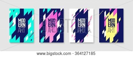 Modern Art Design Covers Colored Set With Original Geometrical Elements Flat Vector Illustration