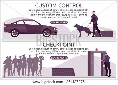 Customs Control Set Of Horizontal Banners With Text Learn More Button And People At Border Checkpoin