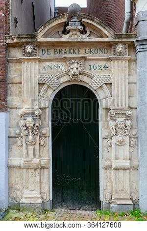 Baroque Entrance Gate To De Brakke Grond In Amsterdam, Netherlands