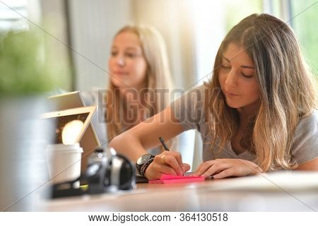 Young people studying from home during confinement period