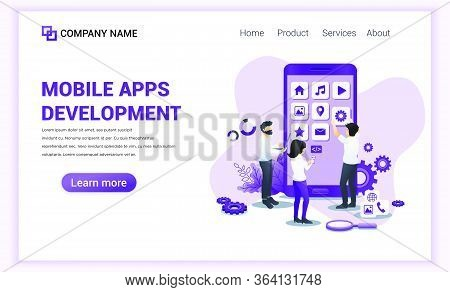 Modern Flat Design Concept Of Mobile App Development With Characters Building And Create App As Deve