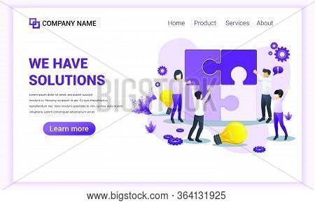 Modern Flat Design Concept Of We Have Solutions With Characters Fitting Together Pieces Of A Giant J