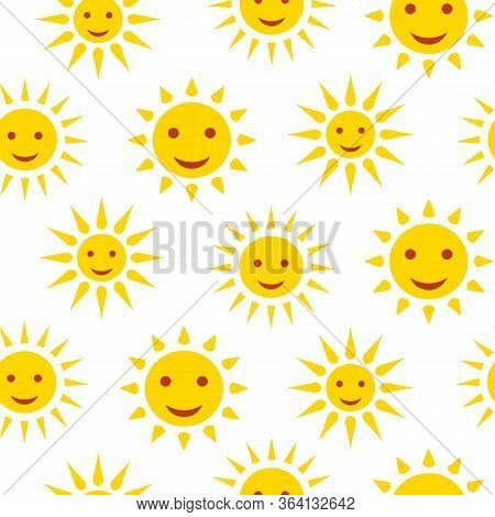 Sun Smile With Rays Seamless Pattern. Limitless White Background With Yellow Flat Cartoon Summer Sig