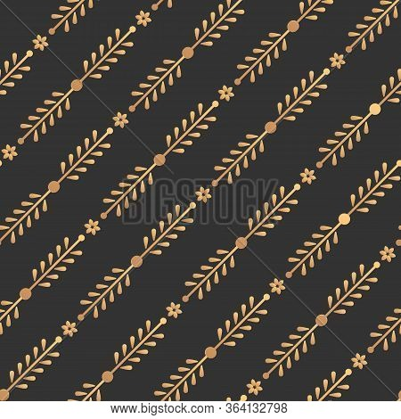 Gold Floral Seamless Pattern. Abstract Limitless Dark Background, Stylish Golden Line Geometric Repe