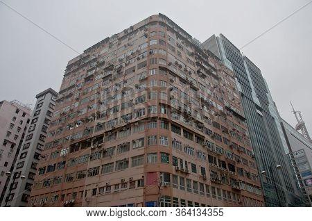 Hong Kong, Hong Kong Sar - November 18, 2018: Crowded Brown Old Vintage Tall Classical Residential A