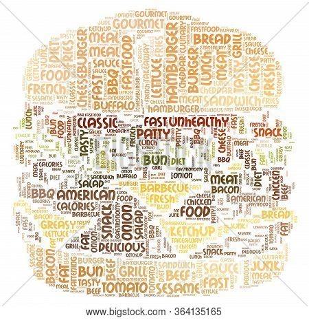 Hamburger Word Cloud Art Poster Illustration