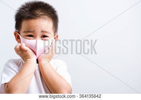 Portrait Asian Little Child Boy Wearing Cloth Face Mask Protective Filter Dust Pm2.5, Covid-19 Or Co