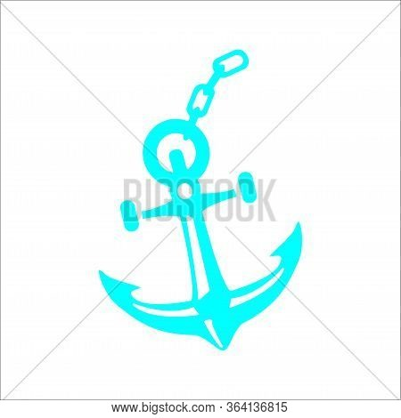 Cyan Anchor Icon Isolated On White Background. Cyan Anchor Icon, Cyan Anchor Simple Design. Eps 8.