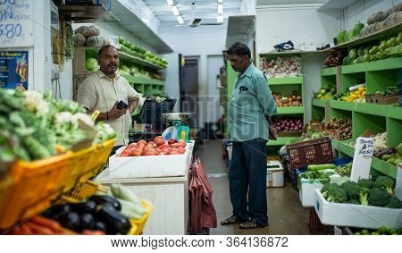 Little India, Singapore - December 25, 2019 : Typical Old Grimy Vegetable Shop In Liitle India