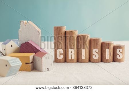 Collapsed Wooden Houses With Crisis Wooden Blocks, Mortgage Crisis, Property Prices Falling, Financi