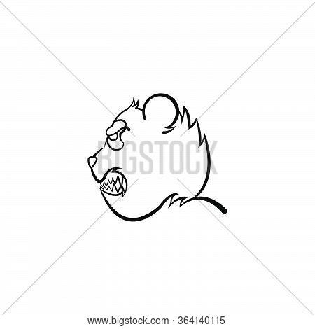 Panda Fierce Face Side View Logo Mascot. Bear Vector Panda Isolated  Cartoon Character Doodle Illust