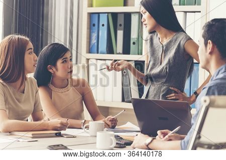 Teamwork Concept. Collaboration Team Meeting Communication With Business Teamwork Working Together I
