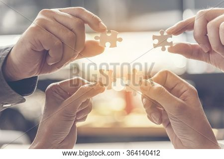 Implementation Improving Connections Strategy Team Solution Organization.piece Of Jigsaw Assembly By