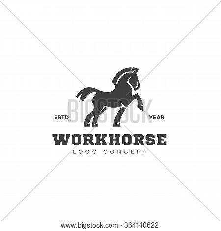 Workhorse Logo Design Template With Silhouette Of Horse. Vector Illustration.