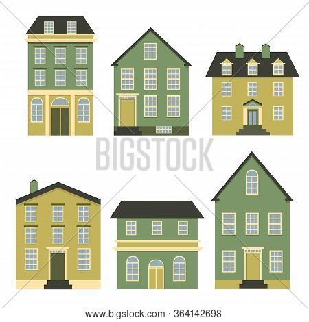 Set Of Houses Front View. Collection Of Icons Of Urban And Suburban House, Town House, And Cottage.