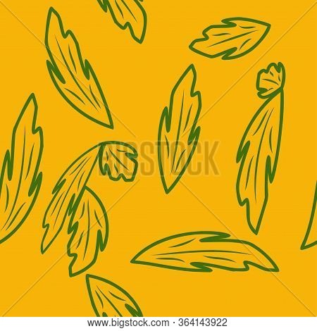 Seamless Pattern With Leaves And Flowers Linocut Style