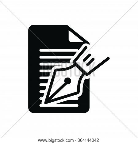 Black Solid Icon For Editorial Notes Writer