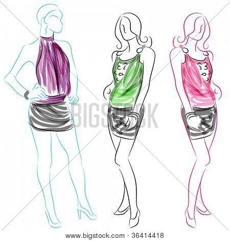 An image of a women wearing short skirts.