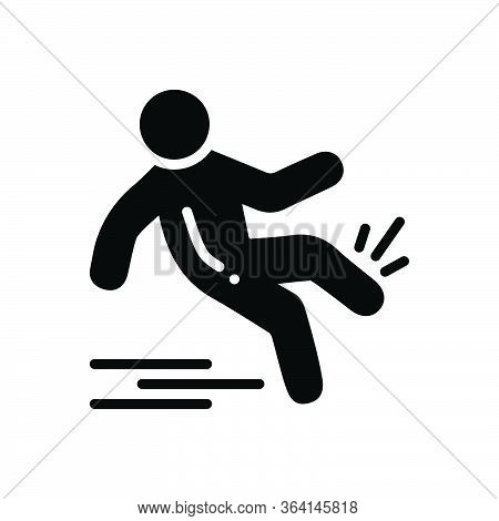 Black Solid Icon For Slip-and-fall Slip Fall Slippery Injury
