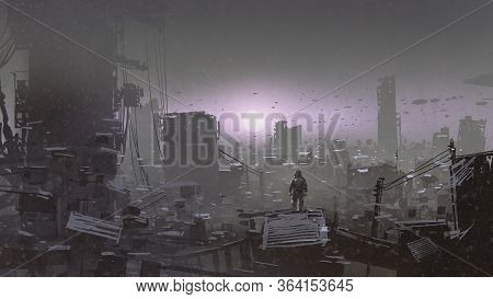 Man Looking At Sunset On A Rooftop Of The Building In The Post-apocalyptic World, Digital Art Style,