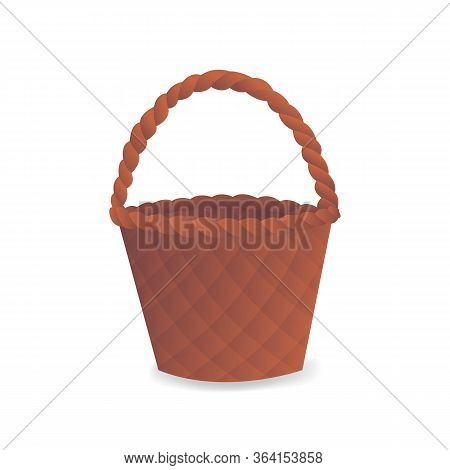 Empty Wicker Basket Icon In Flat Style. Rounded Woven Basket Made From Straw Or Rattan Element Isola