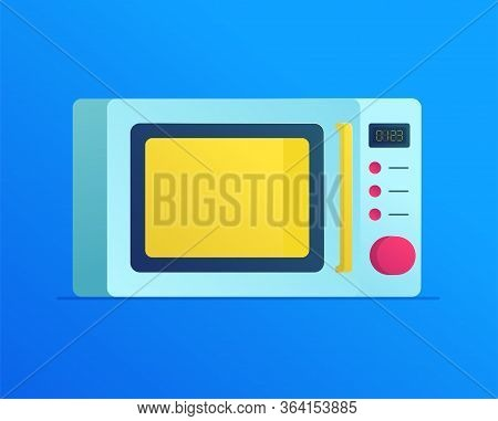 Microwave Oven Flat Icon. Modern Kitchenware And Household Equipment Symbol. Electric Roaster Device