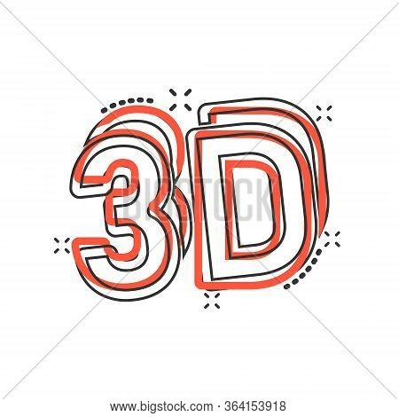 3d Text Icon In Comic Style. Word Cartoon Vector Illustration On White Isolated Background. Stereosc