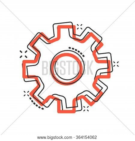 Gear Vector Icon In Comic Style. Cog Wheel Cartoon Illustration On White Isolated Background. Gearwh