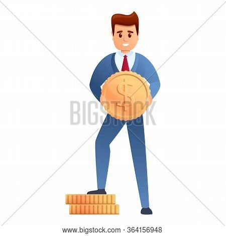 Business Man With Dollar Cent Icon. Cartoon Of Business Man With Dollar Cent Vector Icon For Web Des